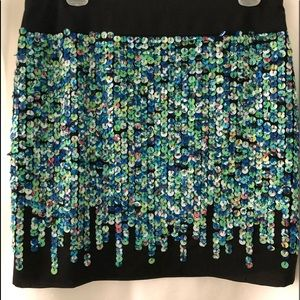 "Fun, 18"" long lined silk skirt with fabric sequins"